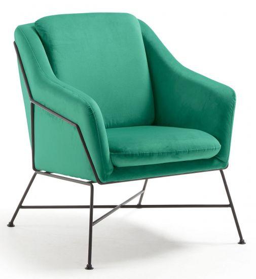 Kave Home - Brida Loungestol - grön sammet
