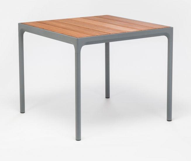 HOUE - FOUR Trädgårdsbord 90x90 - Mörkgrå/Bambu