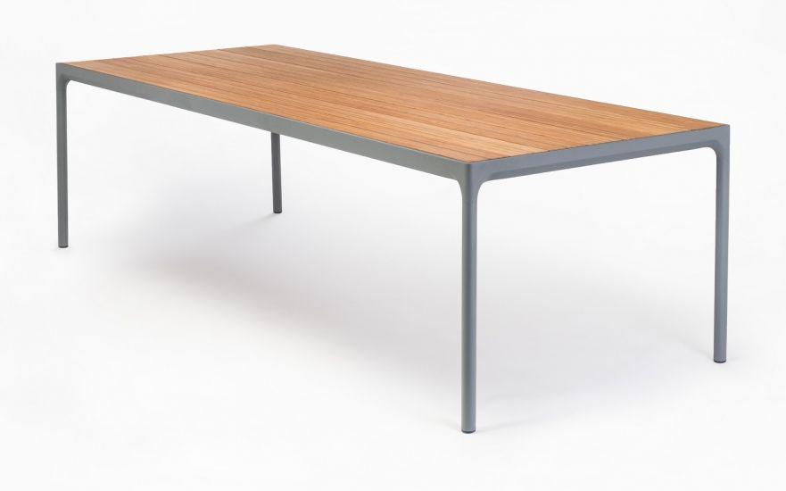 HOUE - FOUR Trädgårdsbord 210x90 - Mörkgrå/Bambu