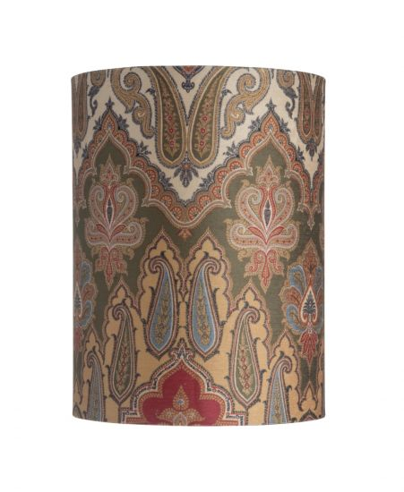 Ebb&Flow - Lampskärm, brocade, green/Guld, Ø30, bordslampa