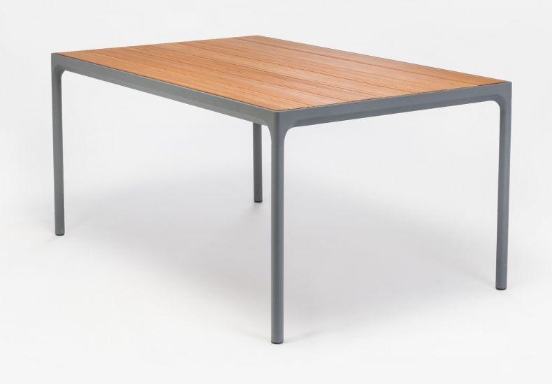 HOUE - FOUR Trädgårdsbord 160x90 - Mörkgrå/Bambu