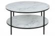 Filippa Soffbord Ø80 m. marmor print - Vit