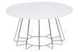 Sekura Soffbord - Vit glas och krom - Ø81