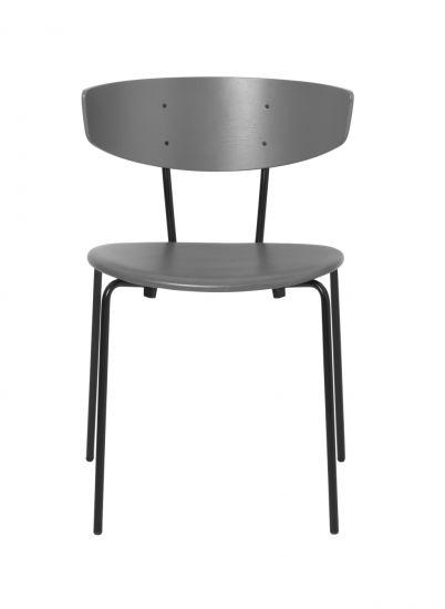 Ferm Living - Herman Matstol m. läder - Warm Grey/Svart