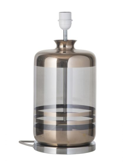 Ebb&Flow - Pillar Lampfot, platin stripes/smokey grå, Silverbas