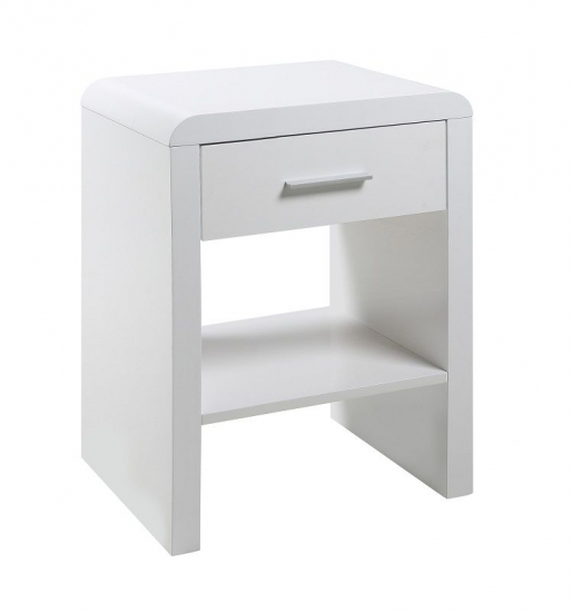 Rago Nattduksbord m/låda - Vit högglans
