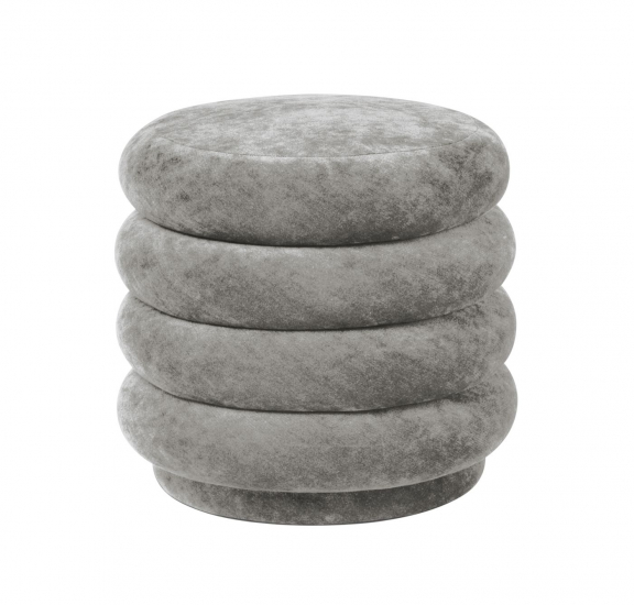 Ferm Living - Pouf Rund - Faded concrete sammet - Small