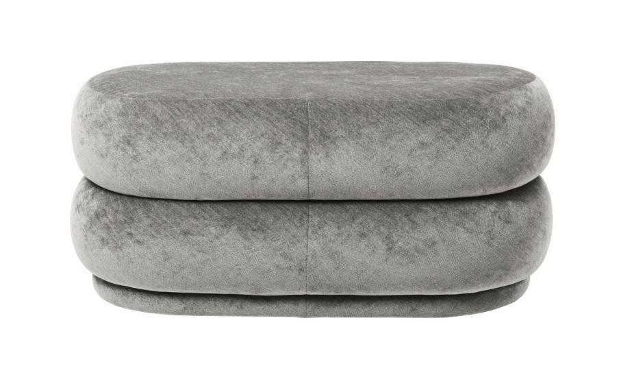 Ferm Living - Pouf Oval - Faded concrete sammet - Medium