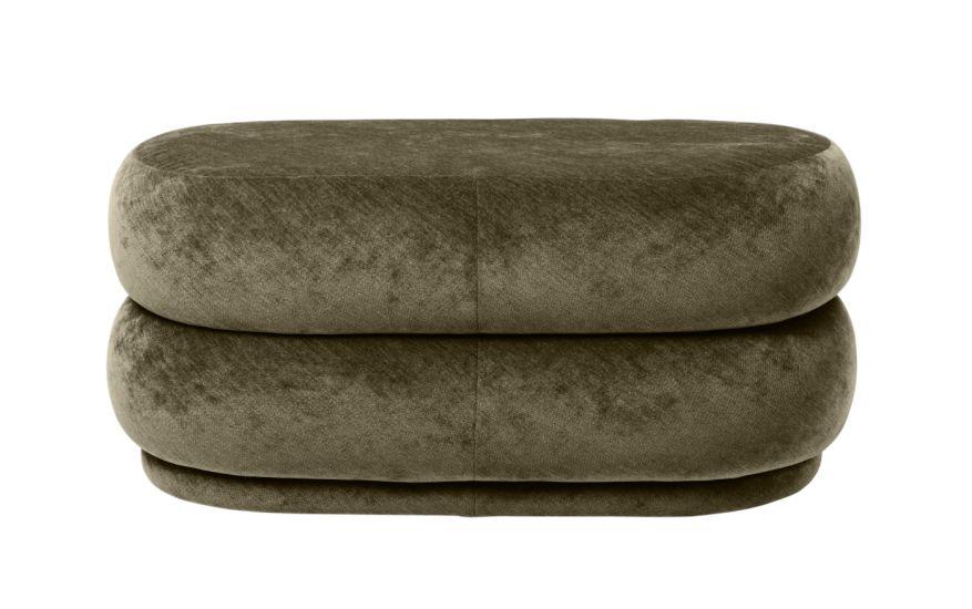 Ferm Living - Pouf Oval - Faded forest sammet - Medium