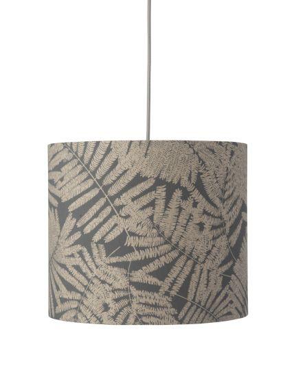 Ebb&Flow - Lampskärm, fern leaves wild, grå glitter, Ø35