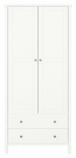 Tromsø Garderob med 2 dörrar + 2 lådor, Vit