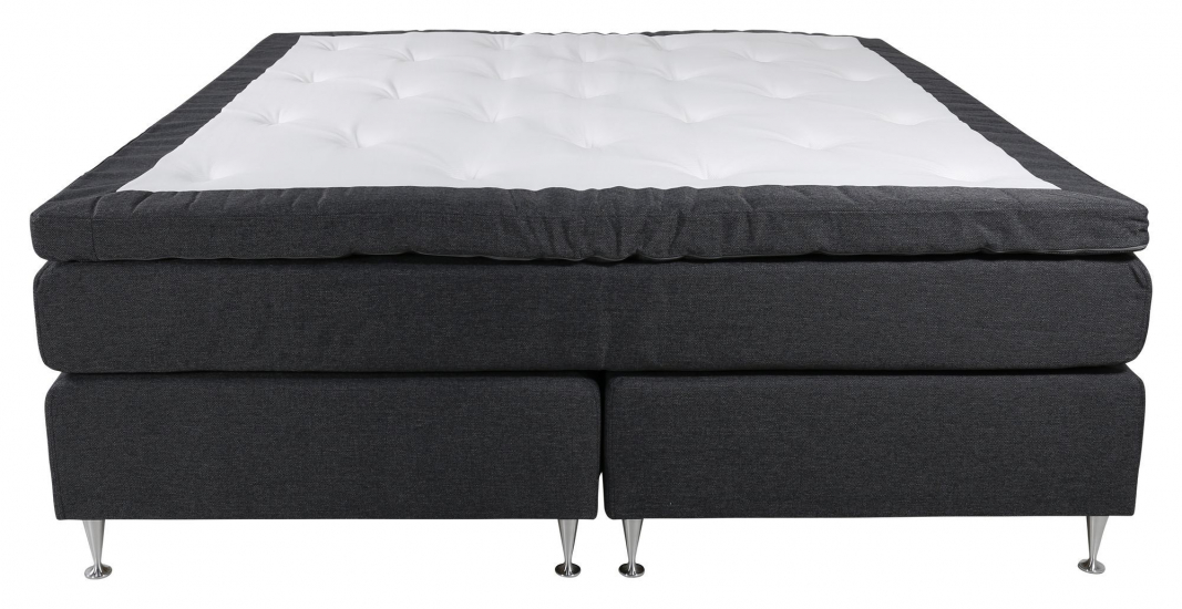Rättvik Kontinentalsäng Medium/Medium med 5 komfortzoner, Mörkgrått tyg, 160x200 