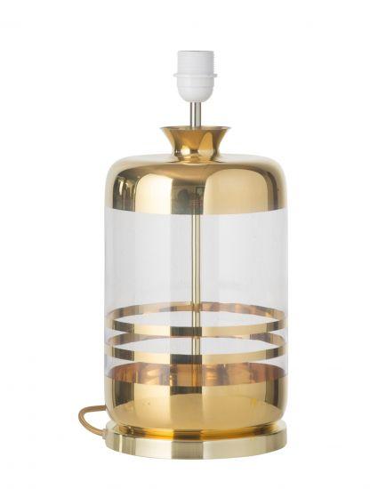 Ebb&Flow - Pillar Lampfot, Guld stripes/Klar, Guld bas