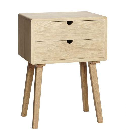 Hübsch Nattduksbord m. 2 lådor - Ek