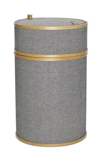 Hübsch Tvättkorg Ø38m - Bambu/Grå tyg