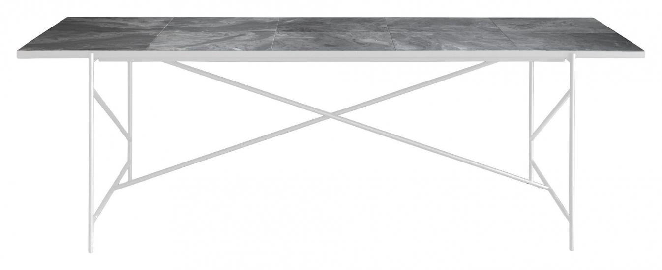 HANDVÄRK - Matbord 230x96 m. vita ben - Grå marmor