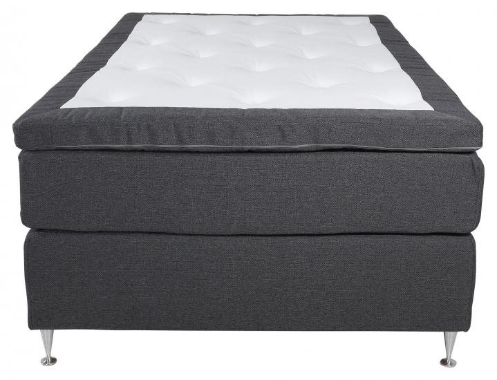 Furudal Kontinentalsäng Fast med 7 komfortzoner, Mörkgrått tyg, 120x200