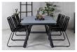 Virya Trädgårdsbord, Svart Alu m. grått glas, 200x100