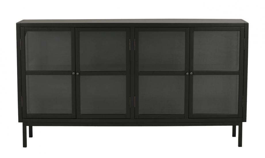 Marshalle Skänk m. 4 dörrar, Svart gummiträ