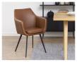 Amada matbordsstol med armstöd - Cognac konstläder
