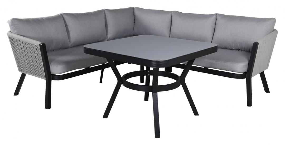 Virya Hörnsoffa m. matbord, Svart m. grå dynor