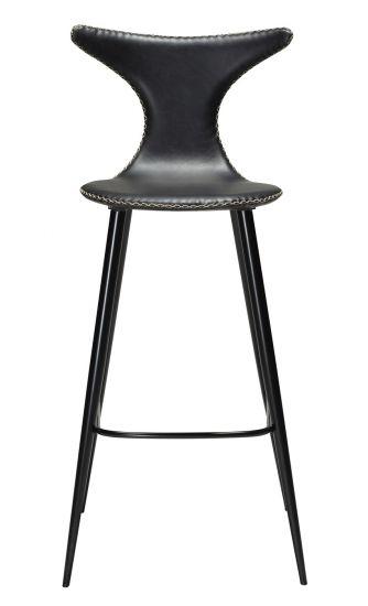 Danform - Dolphin Barstol, vintage Svart Konstläder, runda svarta ben