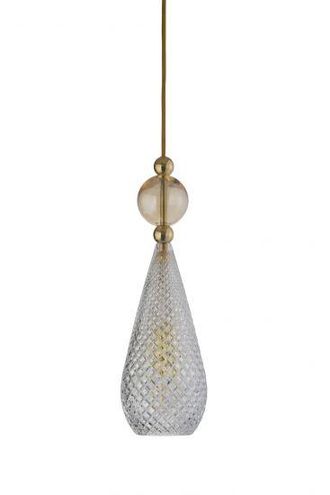 Ebb&Flow - Smykke Pendel, Krystal m. Golden smoke ball