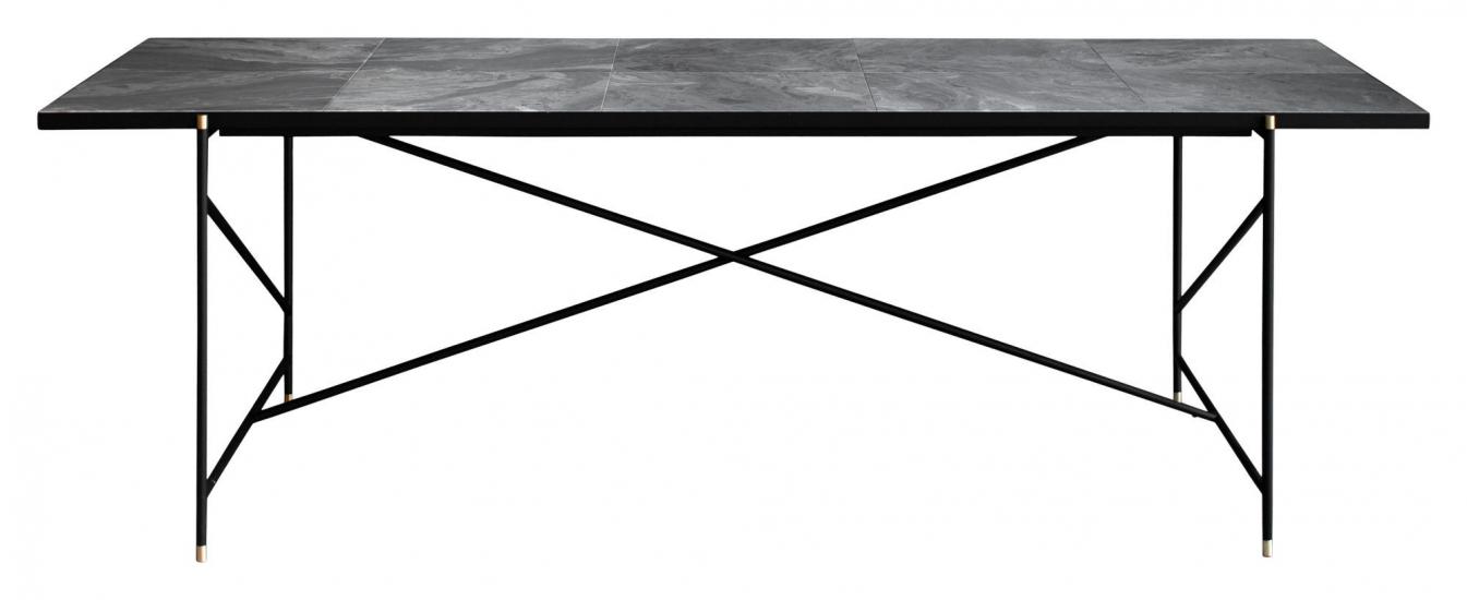 HANDVÄRK - Matbord 230x96 m. Mässing detaljr - Grå marmor
