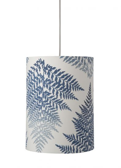Ebb&Flow - Lampskärm, fern leaves graphic, indigo, Ø30,