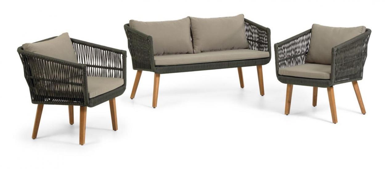 Kave Home Inti Lounges – soffa + 2 loungestolar – Grönt