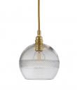 EBB & FLOW  - Check mini stripe Krystal Rowan Pendel m. Guld Ø15
