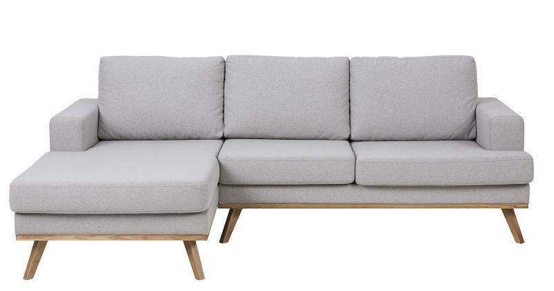 Niche 2-sits Soffa med divan till vänster - Ljusgrå