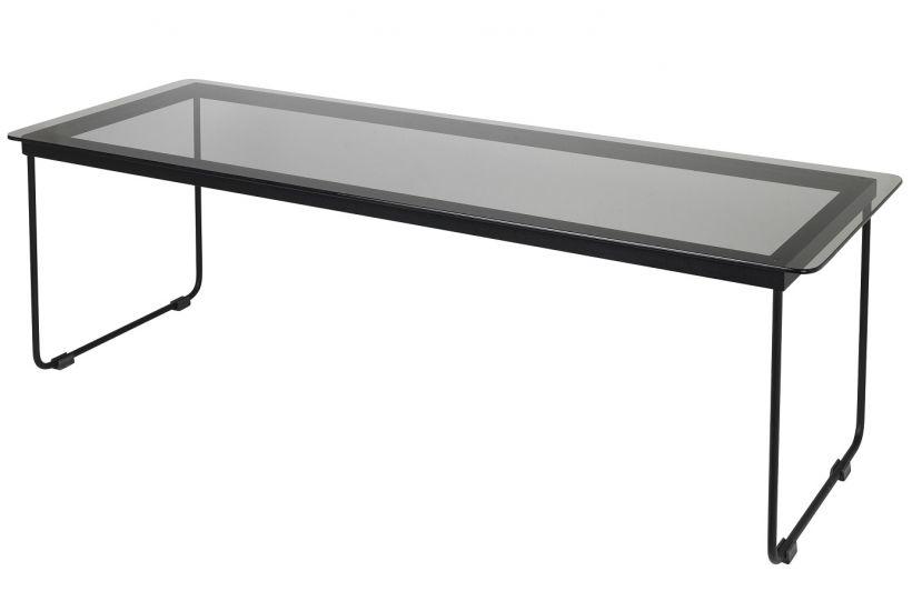 Hyben Soffbord - Svart Glas/Stål, 110x40