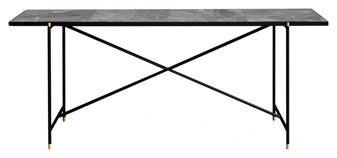 HANDVÄRK - Avlastningsbord 184x46 m. Mässing detaljr - Grå marmor