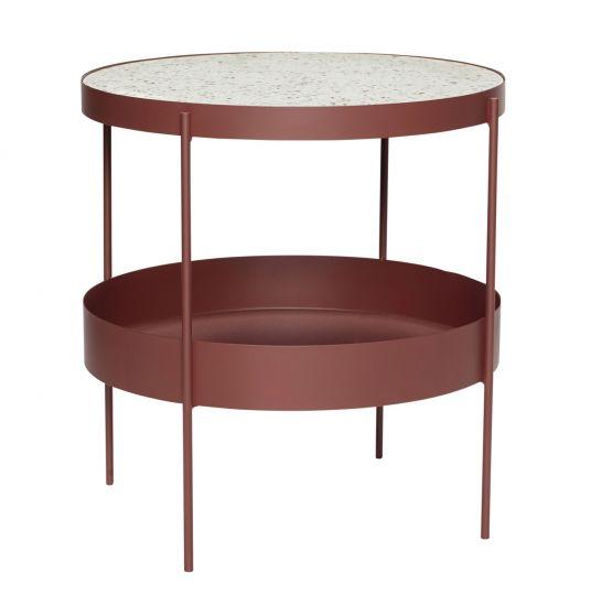 Hübsch Soffbord m. terrazzo bordsskiva - Röd