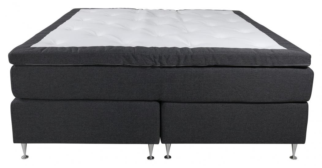 Furudal Kontinentalsäng Medium/Medium med 7 komfortzoner, Mörkgrått tyg, 180x200 