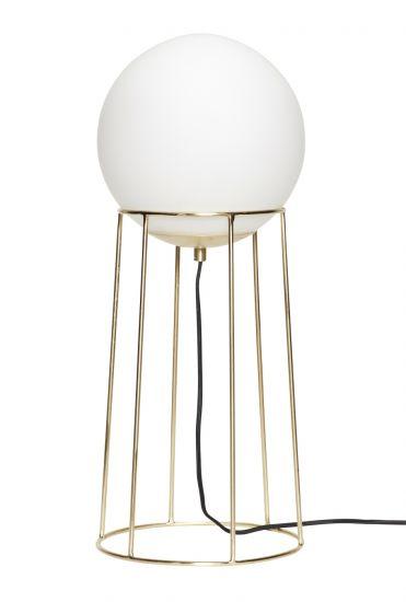 Hübsch Golvlampa m. metallfot - Vit/Mässing