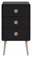 Softline Nattduksbord med 3 lådor, Svart