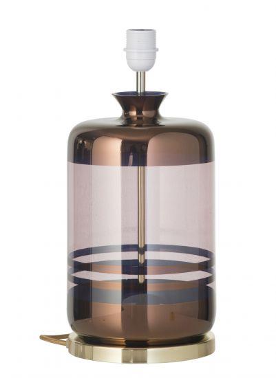 Ebb&Flow - Pillar Lampfot, copper stripes/obsidian, Guld bas