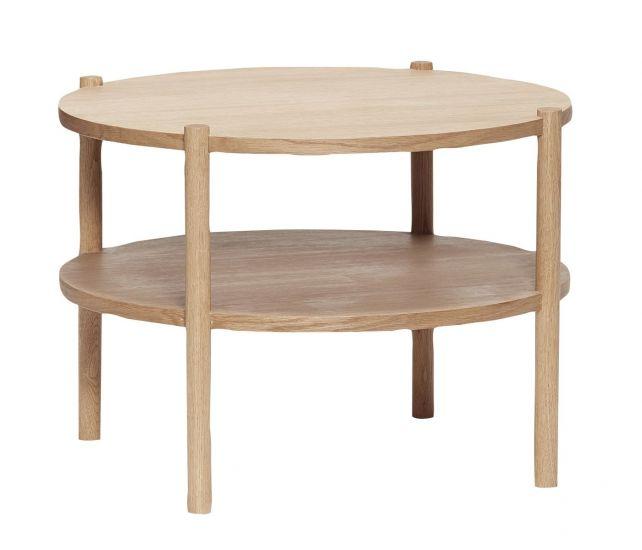 Hübsch Soffbord Ø60 med hylla - Ek