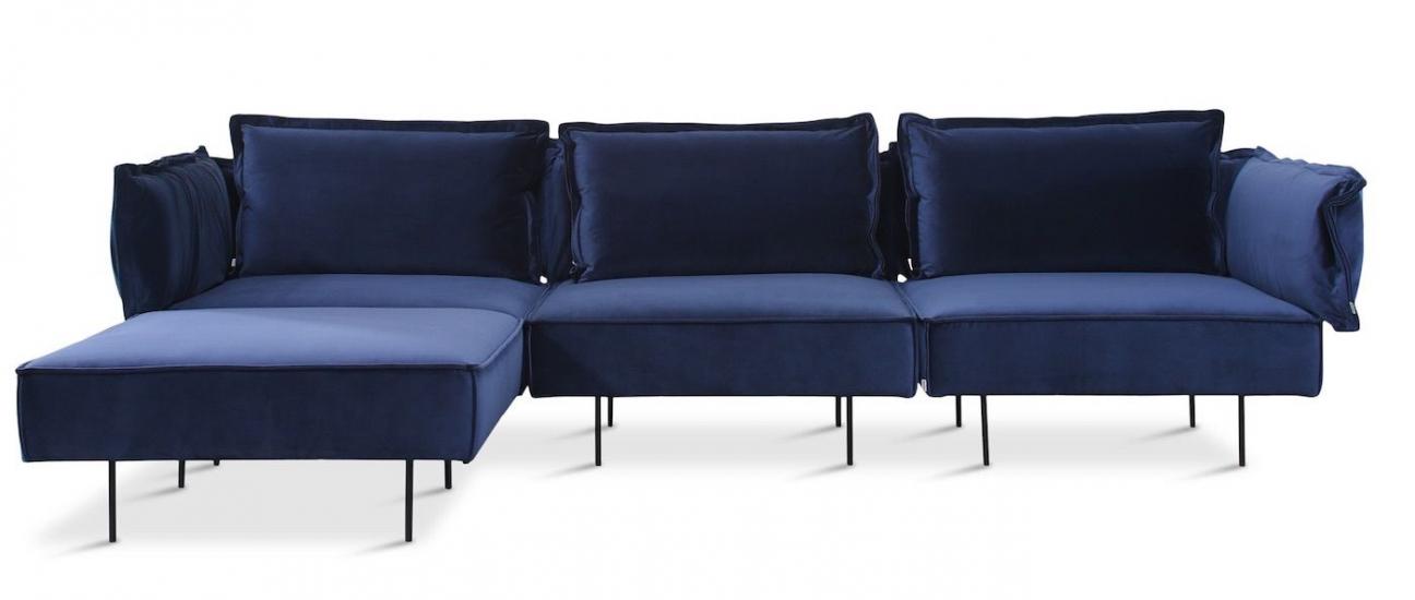 HANDVÄRK - Soffa m. divan sammet - Blå
