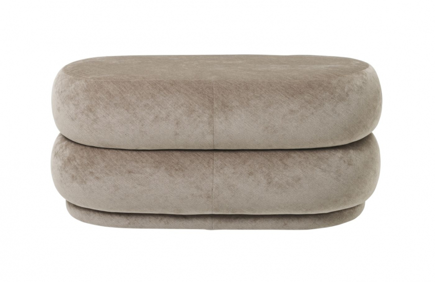 Ferm Living - Pouf Oval - Faded beige sammet - Medium