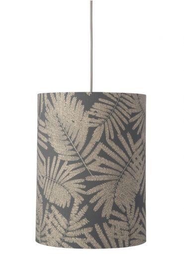 Ebb&Flow - Lampskärm, fern leaves wild, grå glitter, Ø30,